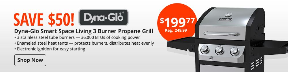 Save $50 on Dyna-Glo Smart Space Living 3 Burnder Propane Grill
