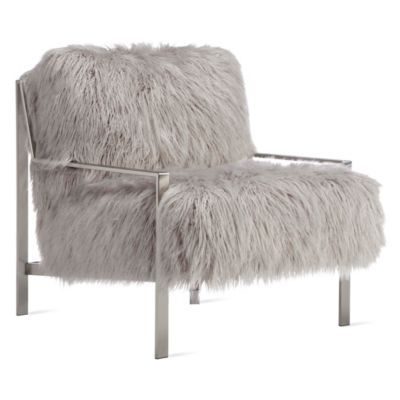 Axel Fur Accent Chair - Brushed ...