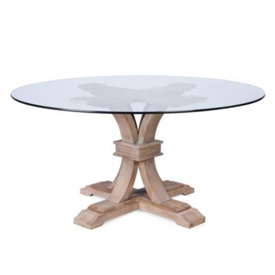 Archer Wash Oak Fixed Pedestal Table With Glass Top