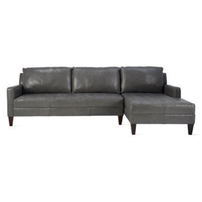 Vapor Leather Chaise Sectional -...