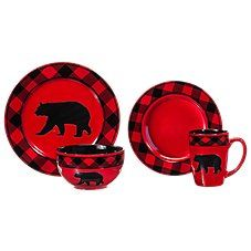 Bass Pro Shops Bear Country Buffalo Check 16-Piece Stoneware Set
