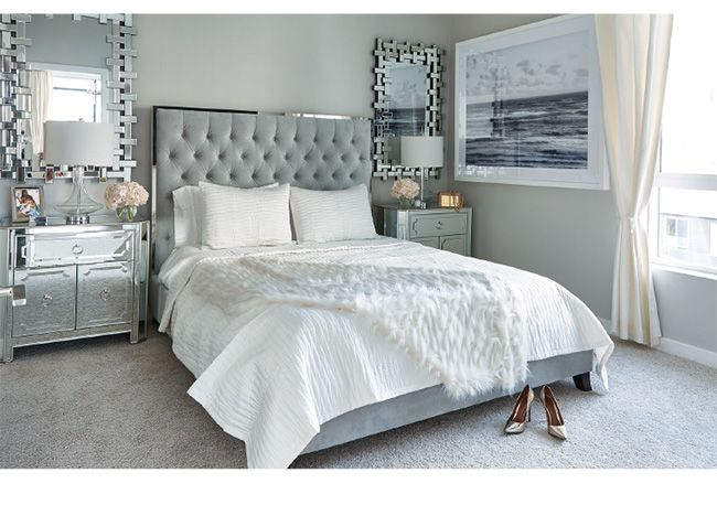 Our Super luxe Prague bed and dazzling Simplicity Nightstands are the perfect foundation for chic dreams.