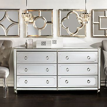 Simplicity Mirrored 6 Drawer Chest