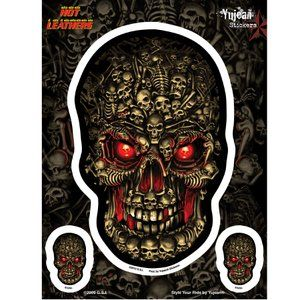 Yulean Hot Leathers Boneyard Skull Sticker Set