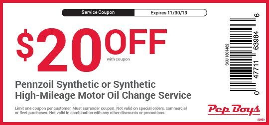 Synthetic Oil Change Coupons >> Pennzoil Oil Change Coupons Pep Boys