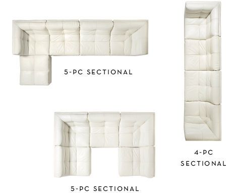 4-piece sectional long, 5-pc sectional with chaise. 5-pc sectional square.