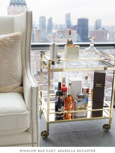 Z Gallerie's Winslow Bar Cart and Arabella Decanter