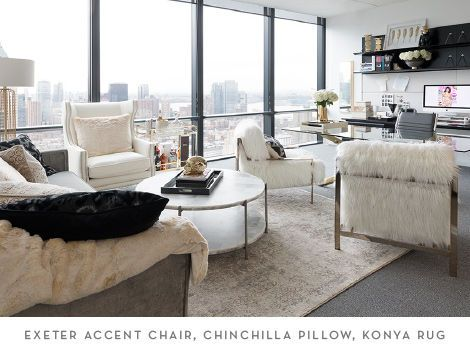 The Exeter Accent Chair, Chinchilla Pillow and Konya Rug