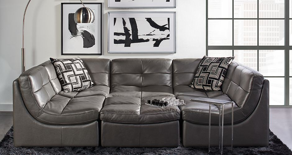 The Convo Modular Sectional - With the buttery feel of an Italian pebbled-leather handbag and stylish good looks.