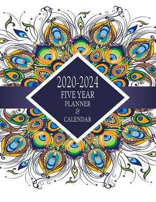 2020-2024 Five Year Planner And Calendar: Long-Term 60 Month Agenda Organizer Purple Peacock Feathers - Ink, Big Sky