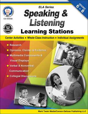 Speaking and Listening Learning Stations, Grades 6-8 - Cameron, Schyrlet, and Myers, Suzanne